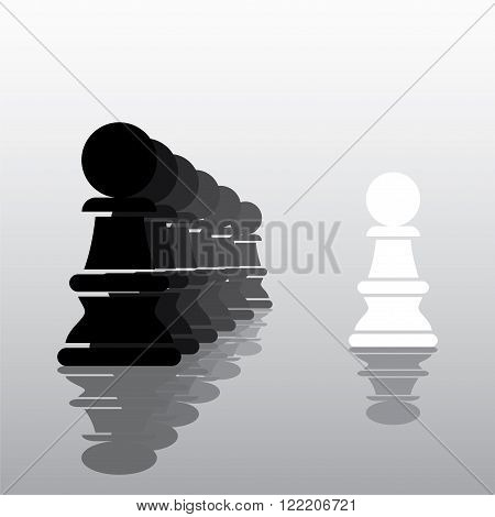 chess white pawn work as leader concept design vector