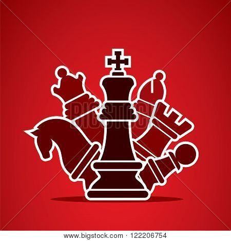 chess pieces arrange in style manner design vector