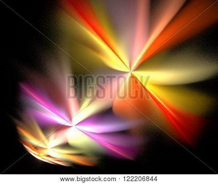 Abstract Fractal Design. Colorful Pattern On Black.