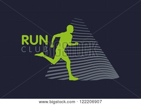 Logo Templates translucent silhouettes of people Running