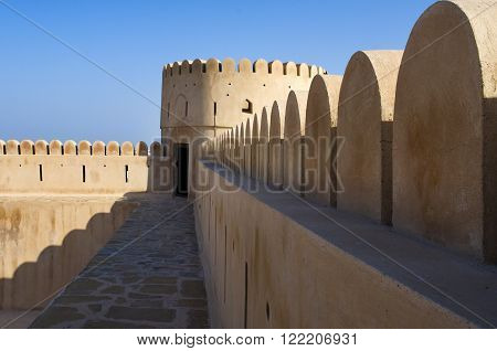 Historic Adobe Fortification, Watchtower Of Sunaysilah Castle Or Fort In Sur