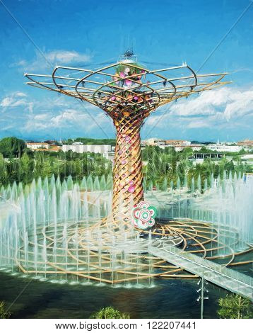 Tree of life at exhibition Expo Milano 2015. The masterpiece to the world. Illustration with colored pencils.
