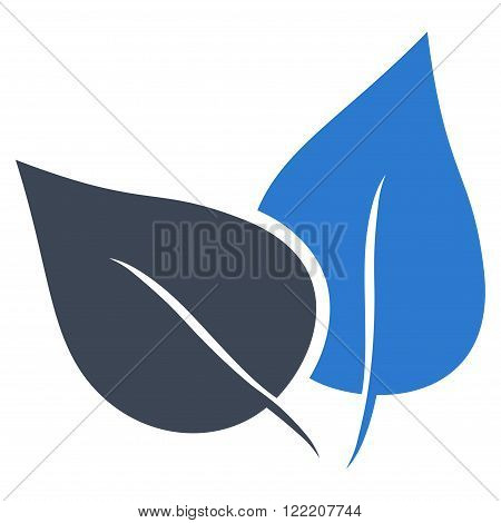 Flora Plant vector icon. Picture style is bicolor flat flora plant icon drawn with smooth blue colors on a white background.