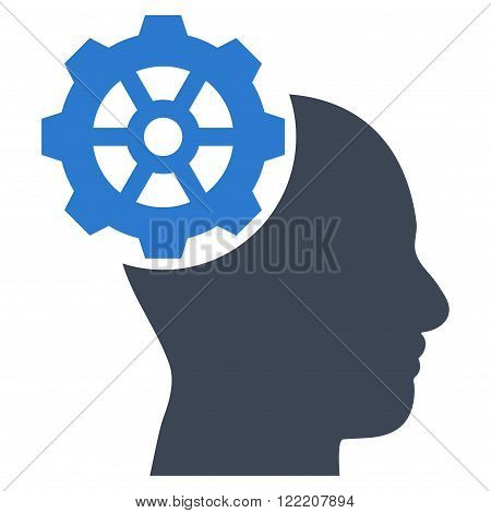 Head Gear vector icon. Picture style is bicolor flat head gear icon drawn with smooth blue colors on a white background.