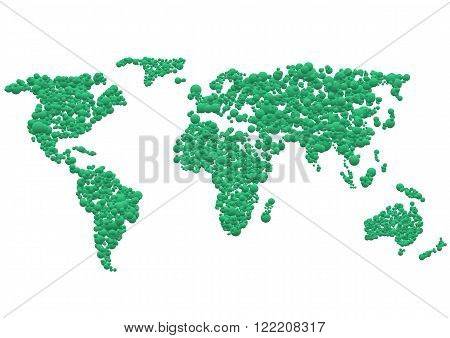 Abstract Green World map on white background. Vector illustration