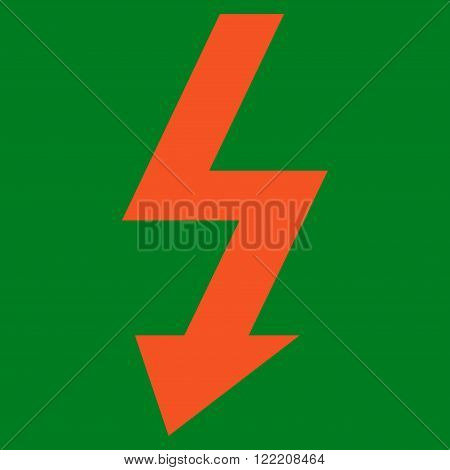 High Voltage vector icon. Picture style is flat high voltage icon drawn with orange color on a green background.