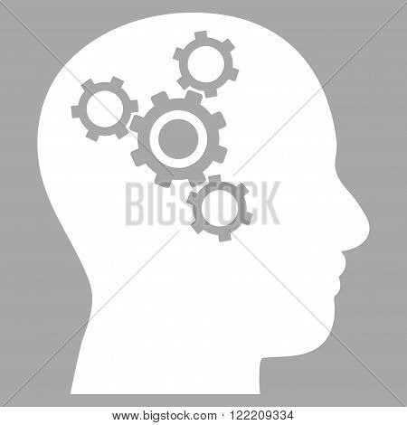 Brain Mechanics vector icon. Picture style is flat brain mechanics icon drawn with white color on a silver background.