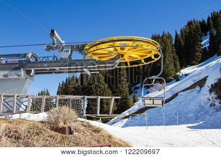 Chair Lift At Ski Resort