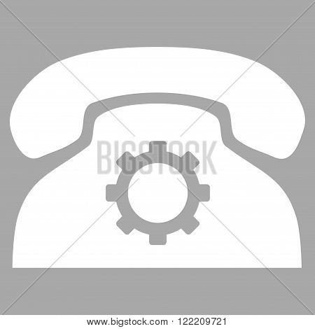 Phone Preferences vector icon. Picture style is flat phone settings icon drawn with white color on a silver background.