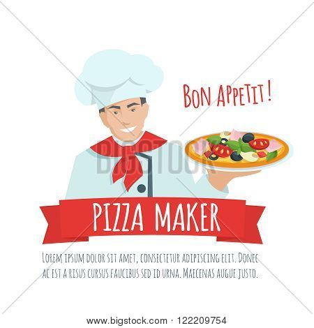 Pizza maker  label  vector. Chef holding pizza. Pizza maker  cartoon flat illustration.