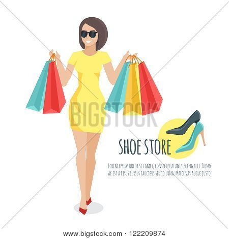 Young woman holding shopping bags. Young woman bought shoes. Young woman cartoon flat vector.