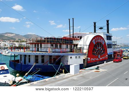 BENALMADENA, SPAIN - JUNE 2, 2008 - Willow paddle steamer in the harbour Benalmadena Costa del Sol Malaga Province Andalusia Spain Western Europe, June 2, 2008.