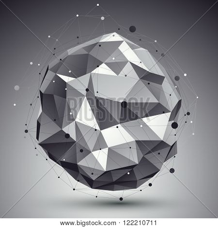 Triangular Abstract Grayscale 3D Illustration, Vector Digital Eps8 Lattice Object Placed Over Dark B