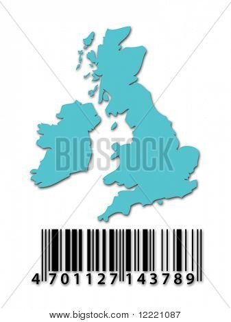 Blue outline map of UK with barcode