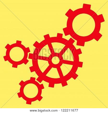 Mechanism vector icon. Picture style is flat mechanism icon drawn with red color on a yellow background.