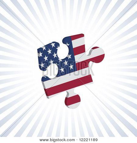 Jigsaw piece with American flag over circular stripes