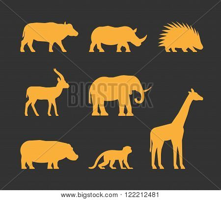Vector gold set of silhouettes african animals. Icon buffalo rhino gazelle and porcupine. Silhouette elephant hippopotamus monkey and giraffe. Silhouette african animals isolated.