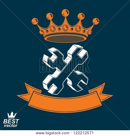 3d vector spanners crossed. Graphic reparation utensil with imperial crown and decorative ribbon. Industry theme icon, manufacturing award idea illustration.