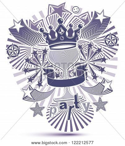 Grayscale Holiday Background With Stylized 3D Monarch Crown Placed Over Glass Goblet. Celebration An