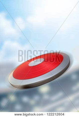 A discus flyingn through the air in a generic sports stadium in the daytime under a blue sky