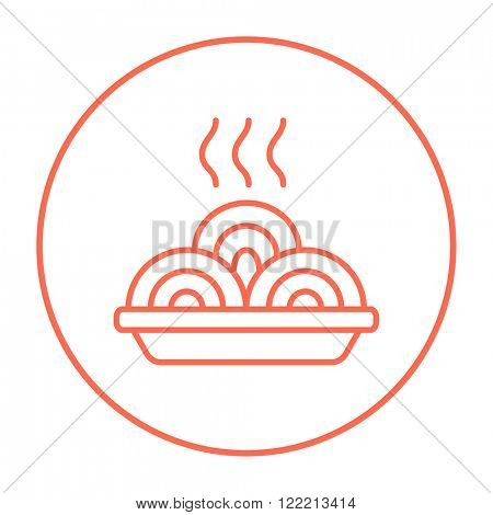 Hot meal in plate line icon.