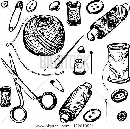 set of ink drawing needlework , hand drawn vector illustration