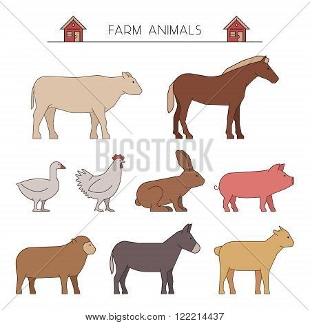 Outline set of farm animals. Linear silhouettes farm animals isolated on white. Line group of farm animals. Vector icons cow horse goose and chicken. Outline silhouette rabbit pig sheep and goat.