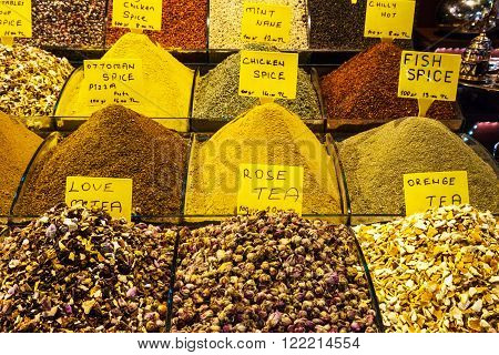 Teas and Spices on Egyptian and the Grand Bazaar in Istanbul. Turkey