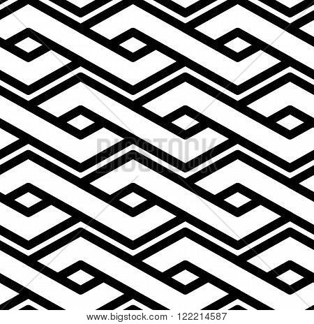 Black and white abstract textured geometric seamless pattern. Symmetric monochrome vector textile backdrop. Splicing lines.