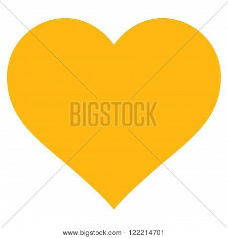 Love Heart vector icon. Picture style is flat love heart icon drawn with yellow color on a white background.