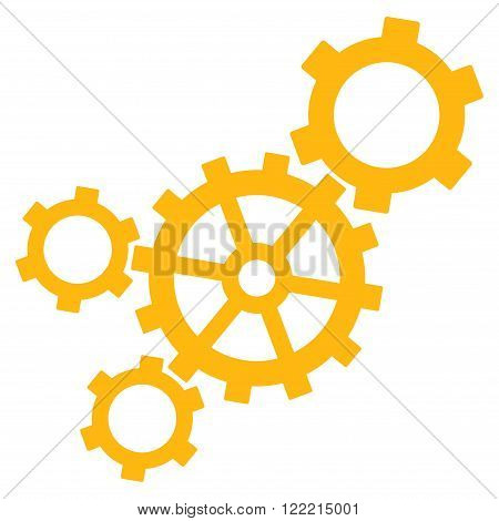 Mechanism vector icon. Picture style is flat mechanism icon drawn with yellow color on a white background.