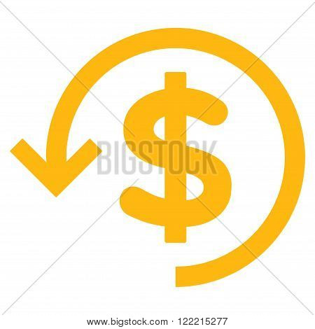 Refund vector icon. Picture style is flat refund icon drawn with yellow color on a white background.