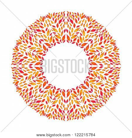 Round ornamental frame of leaves in a watercolor style. Decorative and stylized floral natural pattern. Ecology, boho style, romantic and beautiful. Smooth color transitions.