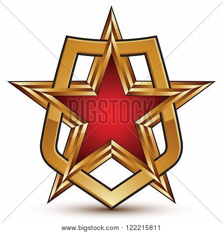 Glamorous Vector Template With Pentagonal Golden Star Symbol Placed In A Shield, Best For Use In Web