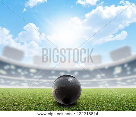 Shotput Ball Stadium And Green Turf