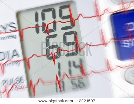 Blood pressure monitor with ecg reading and zoom effect