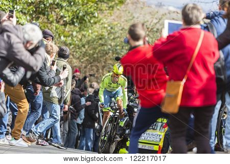 Conflans-Sainte-HonorineFrance-March 62016: The Spanish cyclist Alberto Contador of Tinkoff Team riding during the prologue stage of Paris-Nice 2016. Matthews was the winner of the stage.