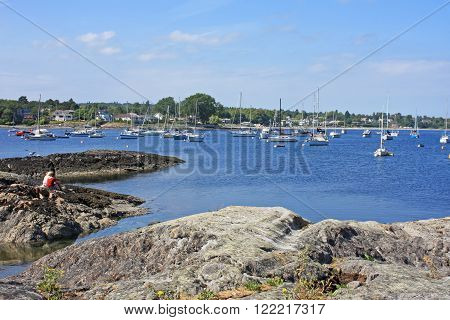 yachts moored in Oak Bay, Vancouver Island