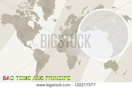 Zoom On Sao Tome And Principe Map And Flag. World Map.