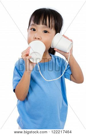 Asian Little Chinese Girl Playing with Paper Cups isolated on White Background