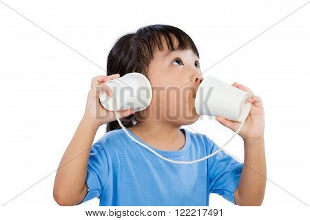 Asian Little Chinese Girl Playing With Paper Cups