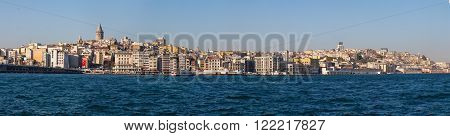 Istanbul, view from the sea to Galata tower and city