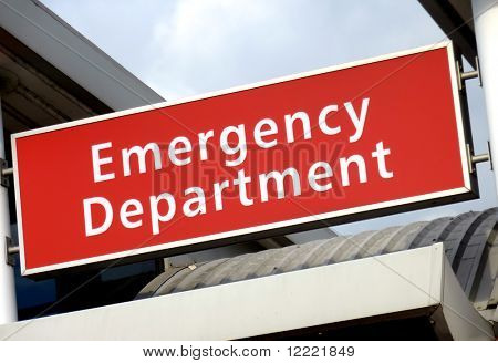 View of the emergency sign at the local hospital