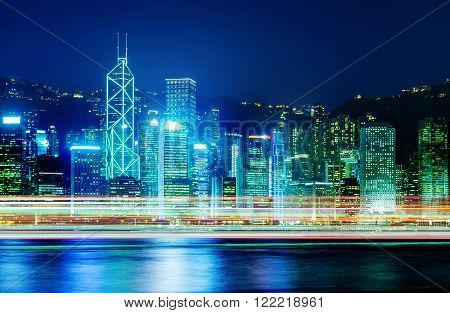Night view of Hong Kong Victoria Harbor