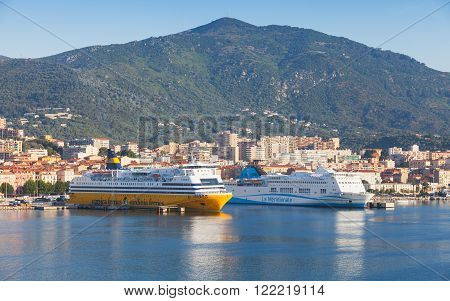 Passenger Ferries Moored In Port Of Ajaccio