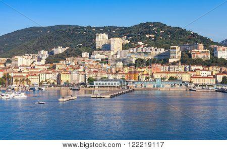 Port of Ajaccio Corsica the capital of Corsica French island in the Mediterranean Sea. Summer morning cityscape