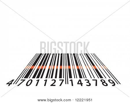 Illustration showing bar code numbers being scanned