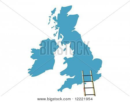 Builders ladder propped against UK map outline