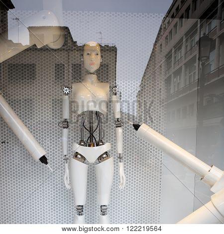 Robot Stands In Shop Window