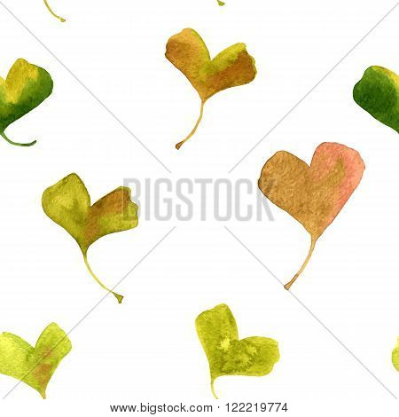 vector watercolor seamless pattern with green leaves of ginkgo, hand drawn vector background